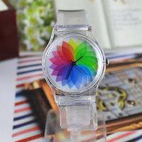 12 style New Fashion Transparent silicone watch , Women/Men/children Cartoon watch Dress Watch Printed flowers wristwatch