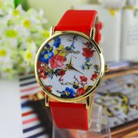 New Fashion flowers Printed GENEVA Leather Wrist watch For Women dress watches Quartz watches relogio clock
