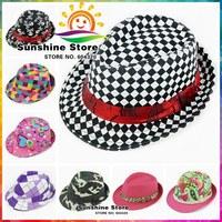 Mixed Style Fashion hats for Children,Dicers Trilby Fedora Cowboy Hat Kids,Boys Girls Jazz Cap Sun Hats #2C2768 10 pcs/lot