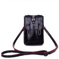 New 2014 high quality pu skull bag solid bolsas vintage cross body bags for women shoulder bag fashion designers small phone bag