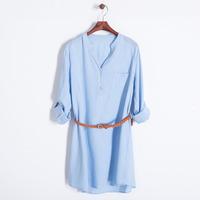 2014 autumn women casual cotton blue cream tunic shirt with sash belt v collar full sleeve long blouse 411406