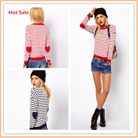 Top Quality Polo Women Sweaters 2014 New Fashion Brand Love Hearts Patch Striped Knitwear Pullover Ladies Sweater Dress Hot