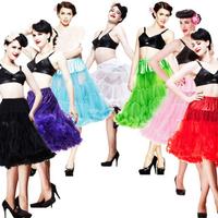 2014 Wholesale Women Soft Fabric 65cm Long Sexy Chiffon Petticoat Rockabilly Pettiskirt Tulle Tutu Skirt Slip 50s Retro 20Colors