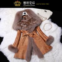 100% genuine sheepskin leather jacket women with warm  fox fur collar and  fleece liner, women long slim fur coat winter