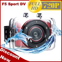 2014 New HD Camera F5 HD 720P 30FPS Waterproof Sport Video camera 2.0 inch Touch Screen 20M Waterproof Free shipping(SC-08)