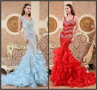 Elegant V-neck Falbala Flouncy Trumpet Mermaid Crystal Vestido Prom Celebrity Evening Formal Party Dress Bridal Gown(XNE-ED077)