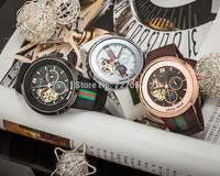 2015 New Famous Brand Winner Luxury Fashion Casual Stainless Steel Men Mechanical Watch Skeleton Watch For Men Dress Wristwatch