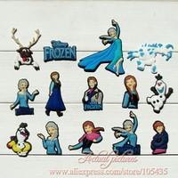 14Pcs/lot Frozen PVC Shoe Charms in shoe decoration For Bracelets,Shoe Accessories,Mixed 14 models,Party Favors,Kid Toy
