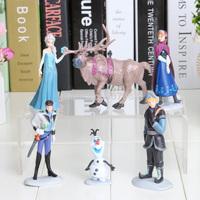 6pcs/set 7-10CM New Movie Princess Anna Elsa Kristoff Olaf Hans Cartoon PVC action figures best children toys