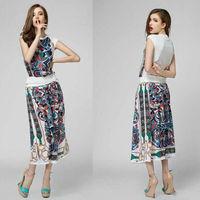 Hot-selling 2014 Charming Printed Sleeveless Top+Printed Long Skirt Skirt Set  (1 set)  140714HB02