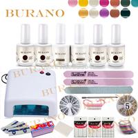 BURANO Gel polish set Gel kit Nail Art manicure set  Uv Gel Polish uv gel nail kit Nail art diy tools 36W Curing Lamp 001 NEW