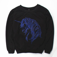 Cheap  Women hoody animal unicorn  Pullovers printed blue horse sweatshirts print  Hoodies  women