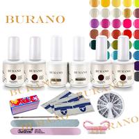 BURANO Nail Art Soak Off Uv nail gel set kit polish Manicure set Topcoat+basecoat +4color nail art tools uv gel nail kit 003 NEW