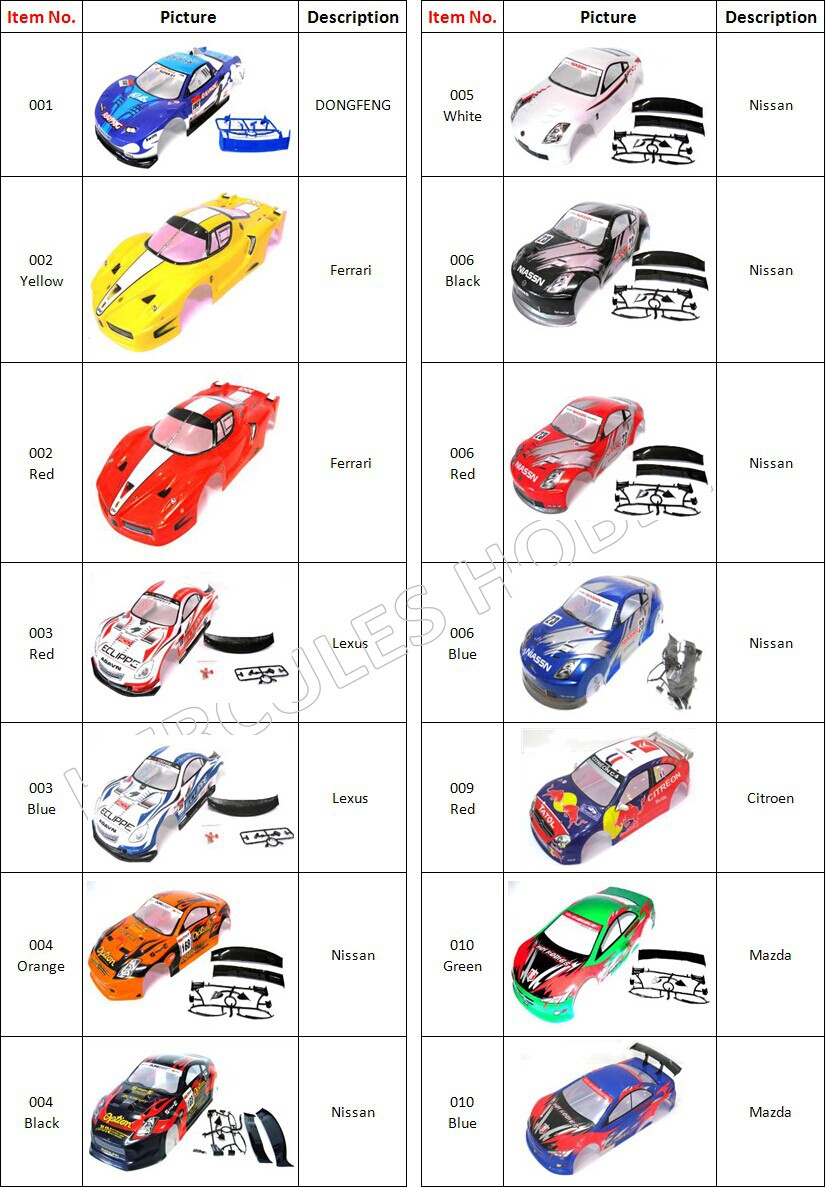 Free Shipping 2pcs RC Car Drift Touring On road Body Shell 1/10 PVC Material Painted 190/195/200mm(China (Mainland))
