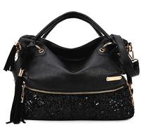 Fashion Leopard Women Handbags European and American Brand Designer Black Tassel Shoulder Bags Ladies Sequined Messenger Bags
