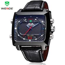 Weide analógico Digital LED de alarma fecha día reloj de hombre exterior deportes relojes de cuarzo correa de cuero reloj militar para hombre reloj