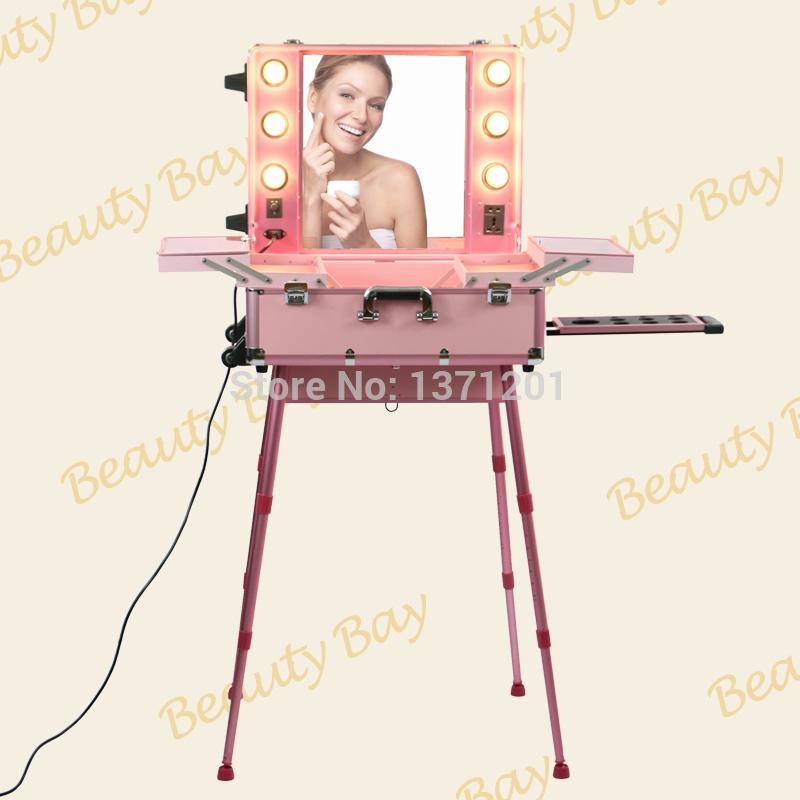 Popular pink aluminium aluminum makeup case with lights trolley cosmetic case(China (Mainland))