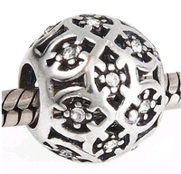 925 Sterling Silver Openwork Lattice Charm Bead with Clear CZ Fit European Jewelry Bracelets Necklaces & Pendants