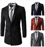 4 Colors New Hot Sales Big Wool Blends Dress Men 2014 Fashion Winter Outerwear Warm Mens Jacket Slim Leisure Coat Outdoor  AX189
