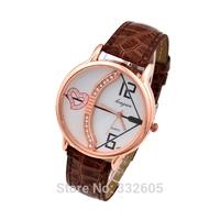 2014 Top Fashion Relogio feminino Women Crystal Dress Watch 4 Colors Female Leather Strap Analog Quartz Casual Clock Wristwatch
