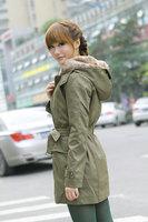 2014 Women's Wool Coat Winter Liner Trench Overcoat Medium-long Fur Jacket Outerwear Overcoat Cotton-Down YS8136