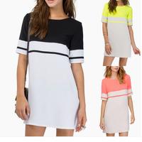 HSHN963  Plus Size Casual Summer Dress 2014 5 Colors Half Perspective  V-neck Vestidos  Women Chiffon Dress