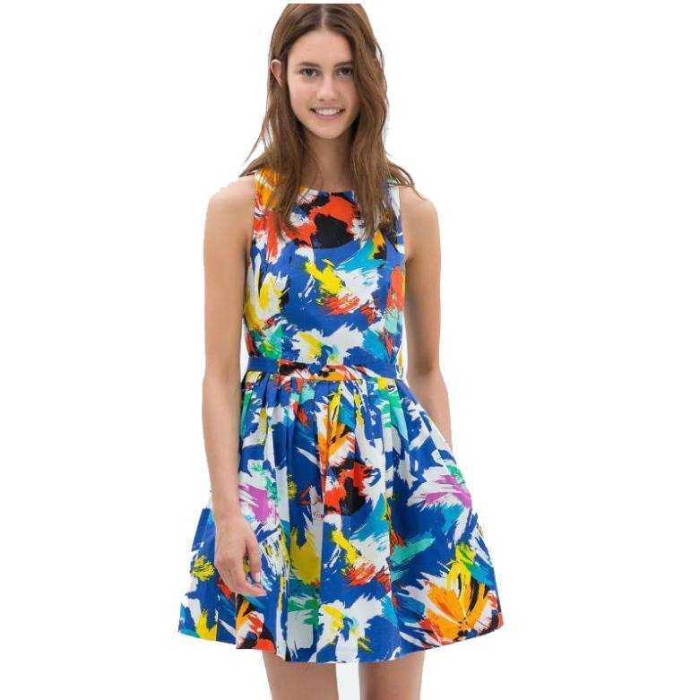 produto Vestidos Femininos Summer Women Dress Casual Sleeveless Mini Pleated Floral Print Dress Vestido Estampado Informal SK-005