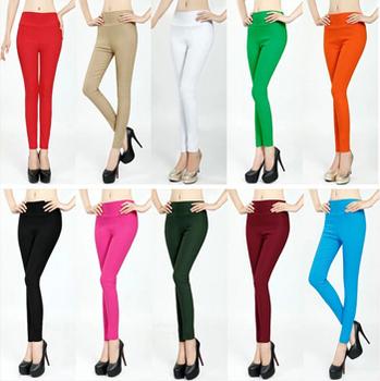 2014 Sexy Женщины Брюки Модный Flat Сплошной Stretch Pencil Tights Skinny Брюки ...