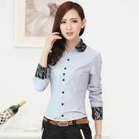 Hot Sale Formal Shirts Lace Patchwork Peter Pan Collar Long-Sleeve Blouses Female OL Slim Shirt Women's Work Wear
