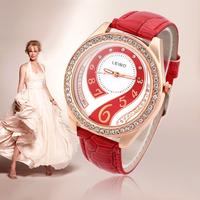 2015 New Hot Women Dress Watches Ladies Quartz Watch Alloy Analog PU Band Rhinestone Wristwatches Discount
