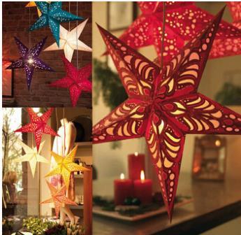 1 pcs Chic NEW Hanging Shiny Hard Paper Star Design Christmas Tree Pendant party decoration Adornment 45 cm(China (Mainland))