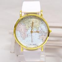 Hot Sale Christmas Gifts Retro World Map Watch Fashion Leather Alloy Women Casual Analog Quartz Wrist Watch #A00141