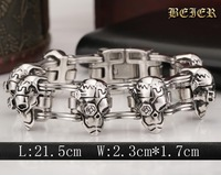 Punk Thick Biker Skull buccaneer charm Bicycle Chain Bracelet For Man 316L Stainless Steel Jewelry 21.5cm free shipping