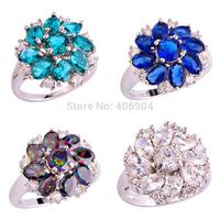 Wholesale Fashion 925 Silver Cluster Green Topaz Sapphire Quartz White Topaz 925  Silver Ring Size 6 7 8 9 10 11 12 Free Ship