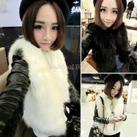 2014 Winter Women Artifical Faux Fur Vest Coat With Leather Long Sleeve Waistcoat Jacket Outwear for women b8 SV005844