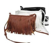 2014 NEW Fashion Women Casual PU Tassel Shoulder Bag Fringe Messanger Slanting Cross Bag White Black Brown Casual Student OL HOT