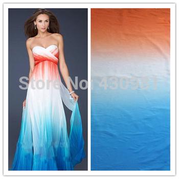 Оранжевый белый синий 100d шифон ткани для одежды оттенок цвета шифон материал для ...