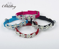 Pet collar teddy bear golden retriever dog rhinestone chain flower flock printing cat collar bell multicolor