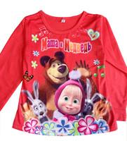 Retial Russia Cartoon t shirts Masha and bear Long Sleeve Boys Girls peppa pig clothes Frozen shirt  Kids clothing Free Shipping