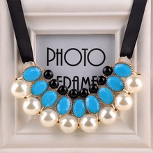 Pearl Choker Collar Vintage 2015 New Ribbon Bead Rhinestone Chain Statement Necklaces Pendants Women Jewelry Gifts
