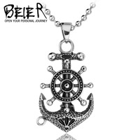 Mens fashion stainless steel Anchor rudder charm pendant vintage jewelry free shipping BP1327