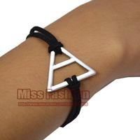 2014 New Fashion Bracelet Handmade Black Wax Cord Silver Triangle Shape Man or Woman Brand Thirty 30 Seconds to Mars Bracelet