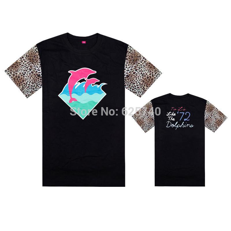 pink dolphin t shirts blue pink print hip hop t-shirt fashion cool rock tees and tops short sleeve summer skate streetwear shirt(China (Mainland))