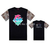 pink dolphin t shirts blue pink print hip hop t-shirt fashion cool rock tees and tops short sleeve summer skate streetwear shirt