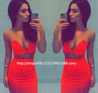 summer dress 2014 new women pencil dress  foreign trade Fashion V-neck dress sexy 2PIEC women's clubs lbl
