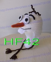 free shipping,30pcs newborn hat,children's crochet cartoon Frozen A snowman Olaf hat. baby hat Beanie Photo props 100% cotton