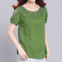 Plus Size 2XL Summer Women Loose Cotton Linen Casual Shirt Brief Short Sleeve Blouse Patchwork Hollow Out Famininas Blusas