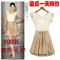 (WDR001) Fashion 2014 Summer One-piece Lace Chiffon Princess Sleeveless Dress  S, M, L, XL, XXL Black Beige Pink Green