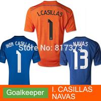 Keylor Navas IKER CASILLAS orange Real Madrid 2015 blue Goalkeeper jersey 14 15 real madrid portero Camiseta 2014 Football shirt