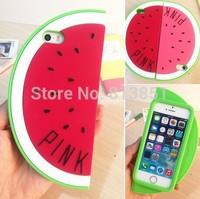 wholesale Victoria/'s Pink Secret Unique Watermelon 3D soft Silicone case For Iphone 4 4S 5 5S 4 colors soft rubber cover